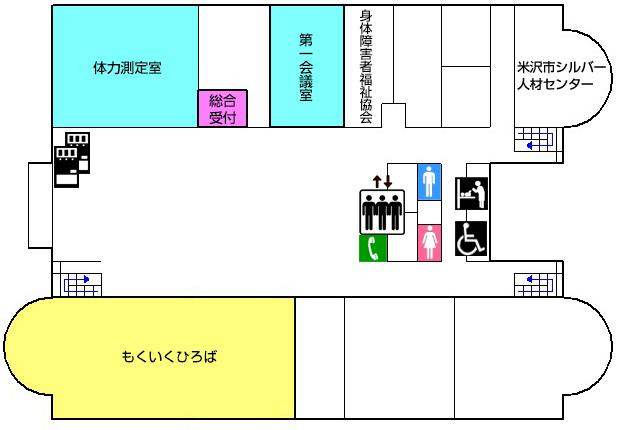 1Fフロアマップ|米沢市すこやかセンター